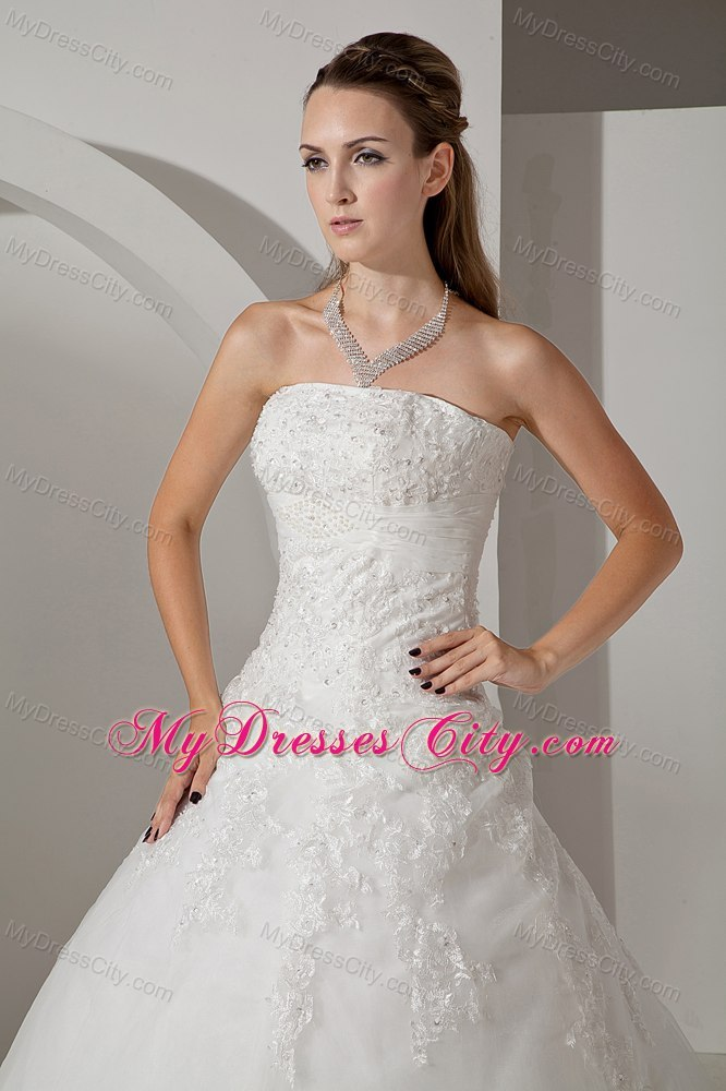 Lovely a line strapless chapel train appliques wedding for Back necklace for wedding dress
