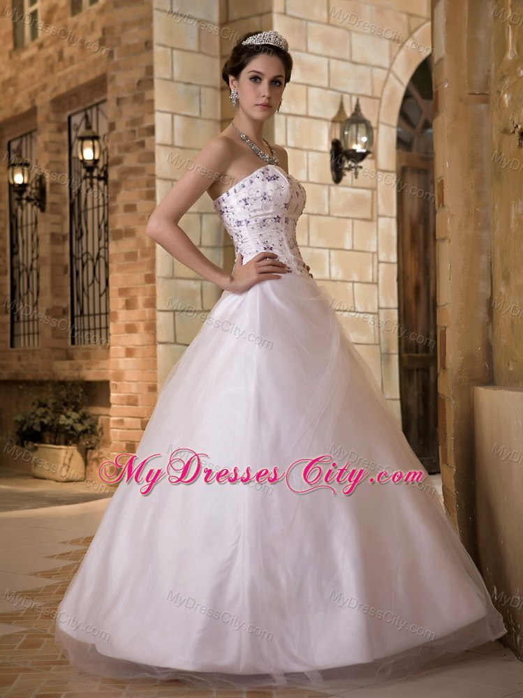 Embroidery sweetheart taffeta and tulle church wedding for Dresses for church wedding
