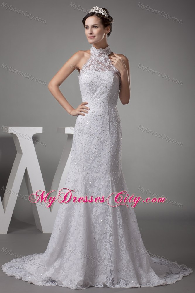 Halter top mermaid lace with beading court train wedding dress for Mermaid halter wedding dresses