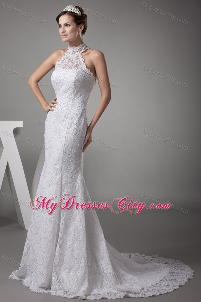 Halter Top Mermaid Lace With Beading Court Train Wedding Dress