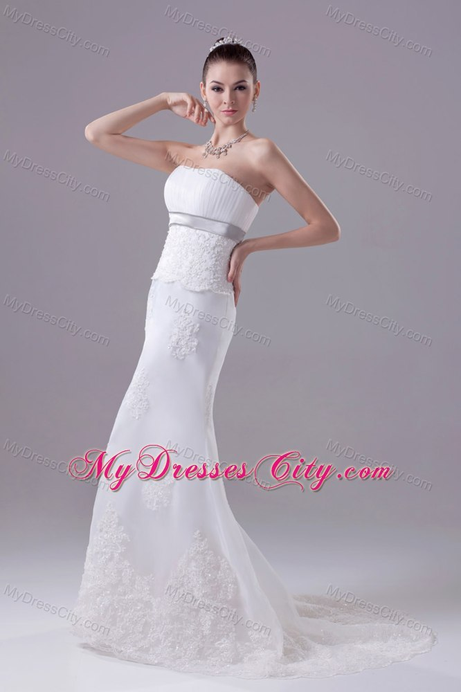 Mermaid Strapless Fitted Appliques Hottest Church Wedding Dress