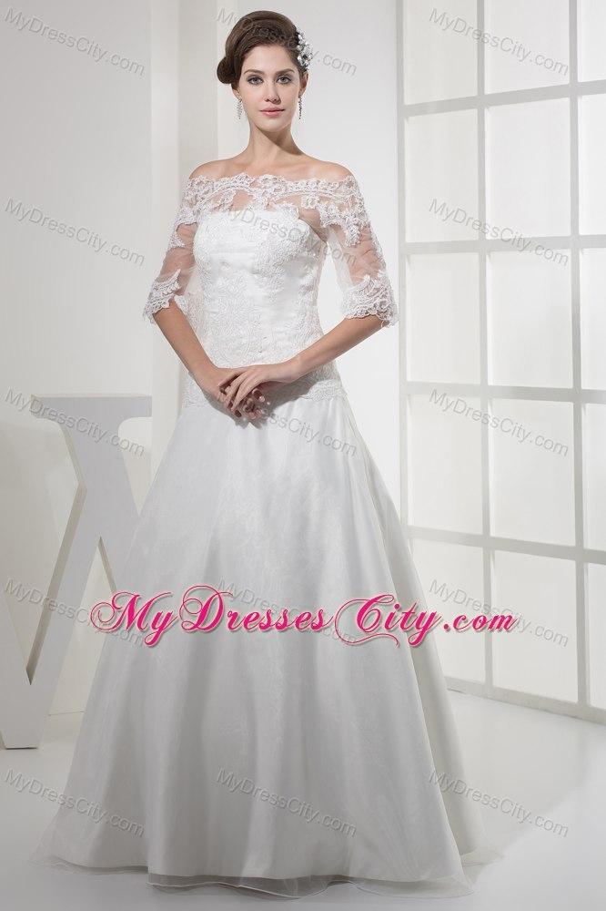 Off the shoulder princess lace wedding dress with half for Off shoulder sleeve wedding dress