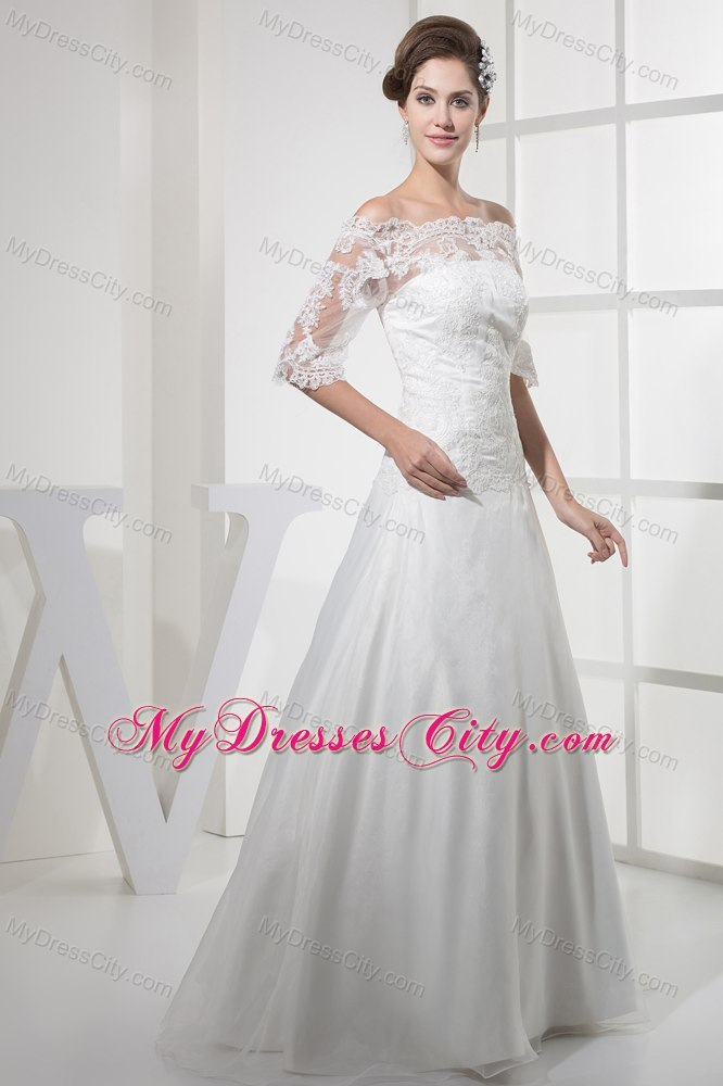 Off The Shoulder Princess Lace Wedding Dress With Half Sleeves