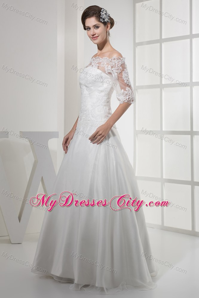 Simple white wedding dresses with sleeves great ideas for Simple off white wedding dresses