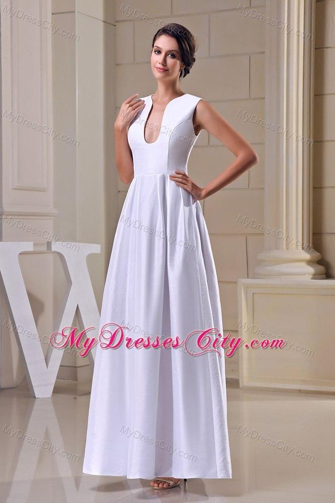 A-line U-neck Satin Ankle-length Zipper-up Wedding Dress ...