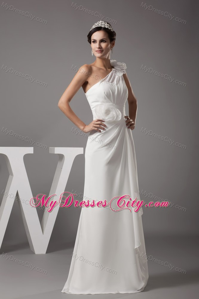 One shoulder flowers long fitted wedding reception dress for Long dress for wedding reception