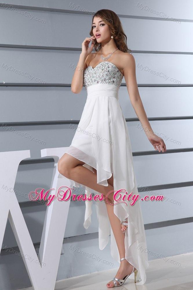 Memorable high low white beading sweetheart wedding dress for White high low wedding dress