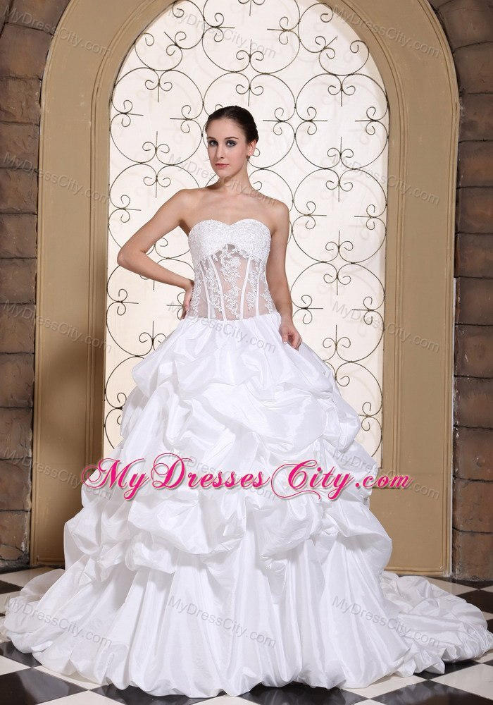 Chapel Train Pick Ups Sweetheart Wedding Gowns with Transparent Organza
