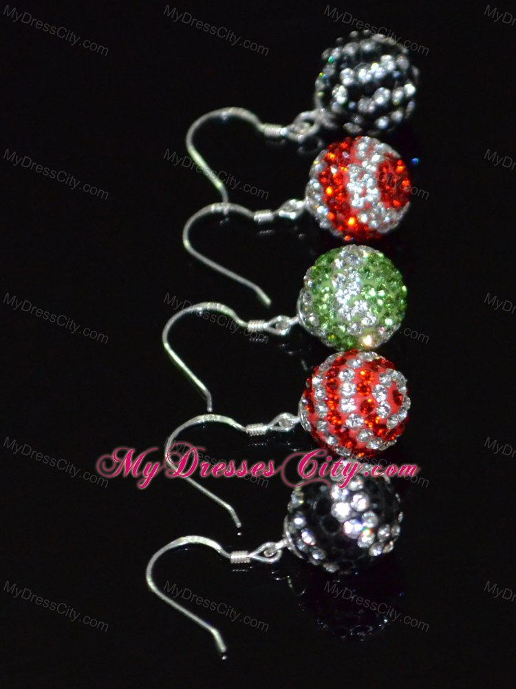 Round Luxurious Rhinestone Black and White Earrings