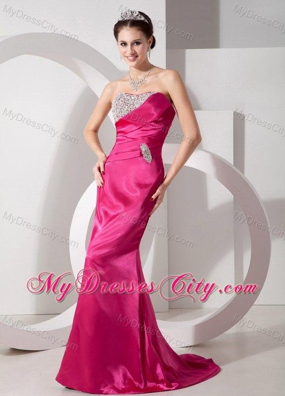 Hot Pink Column Beading Sweetheart Evening Dresses for Celebrity ...