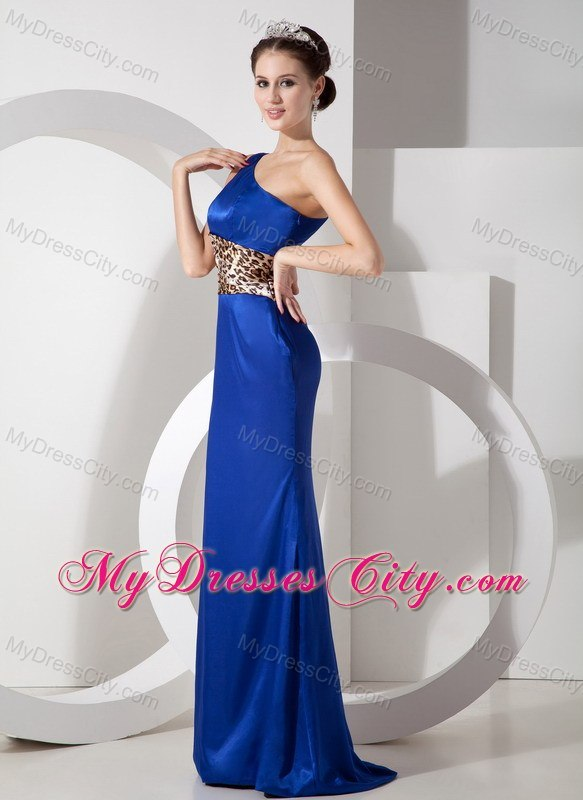 Exclusive Blue Column One Shoulder Evening Dress with Leopard ...