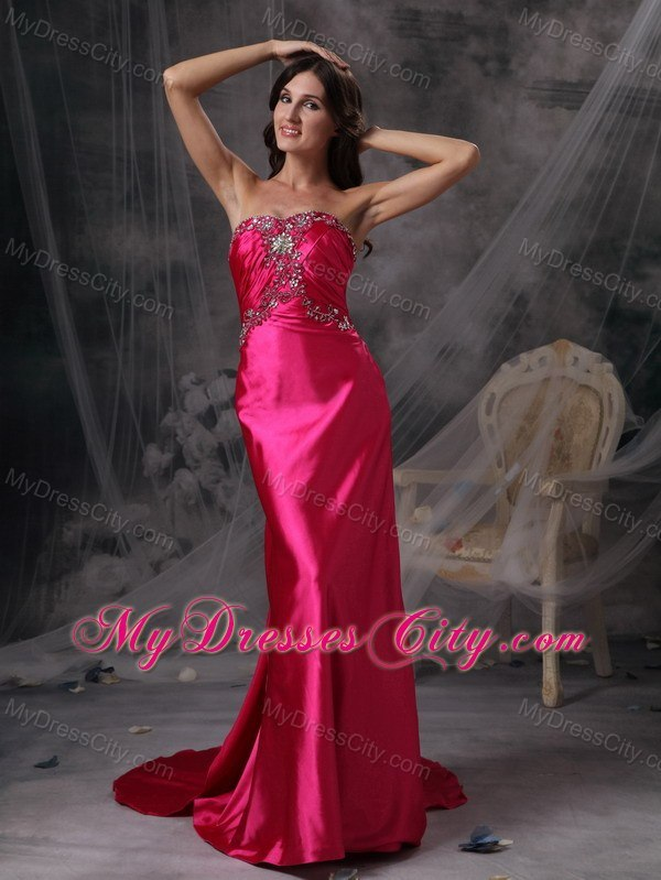 Hot Pink Strapless Evening Formal Gowns with Beading and Ruches ...