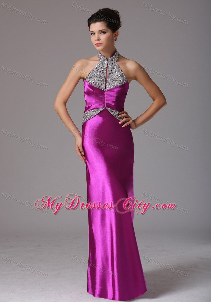 Fuchsia Halter Beading Evening Dresses for Celebrity with Backless
