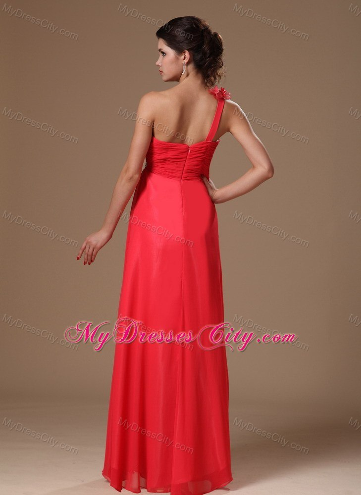 2013 simple red one shoulder chiffon beading prom dress