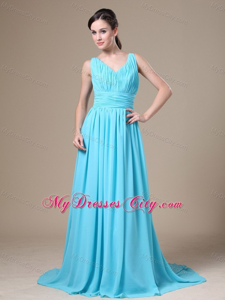 V-neck Long Blue Ruched Prom Gown Dress Zipper Up - MyDressCity.com