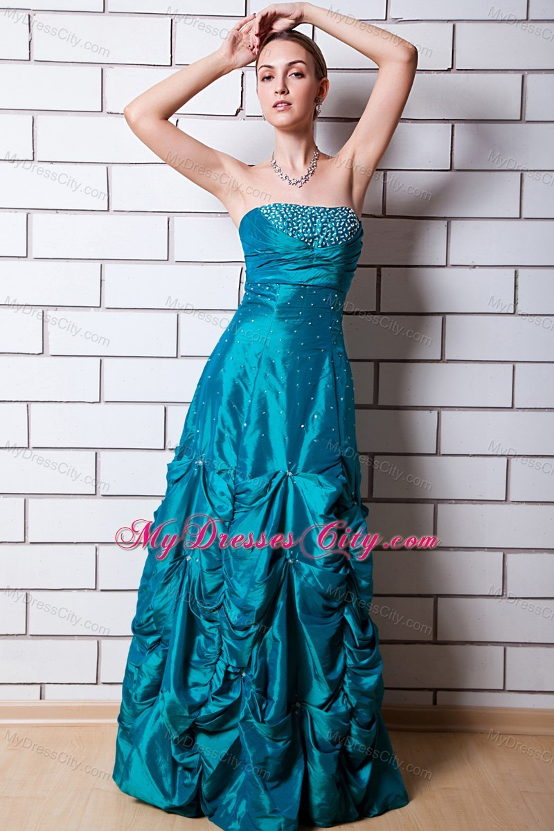 Teal A-line Strapless Floor-length Taffeta Beaded Prom Dress ...
