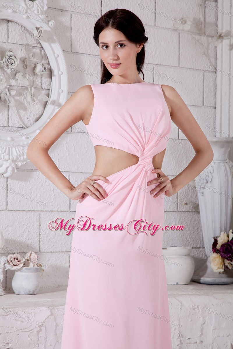 Baby Pink Prom Dress Bateau Ankle-length with Side Cut Out ...