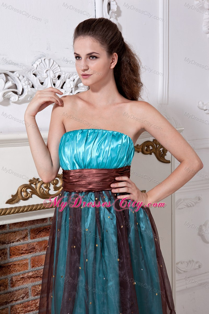 Strapless Aqua and Brown Cool Back Prom Dress Floor-length ...