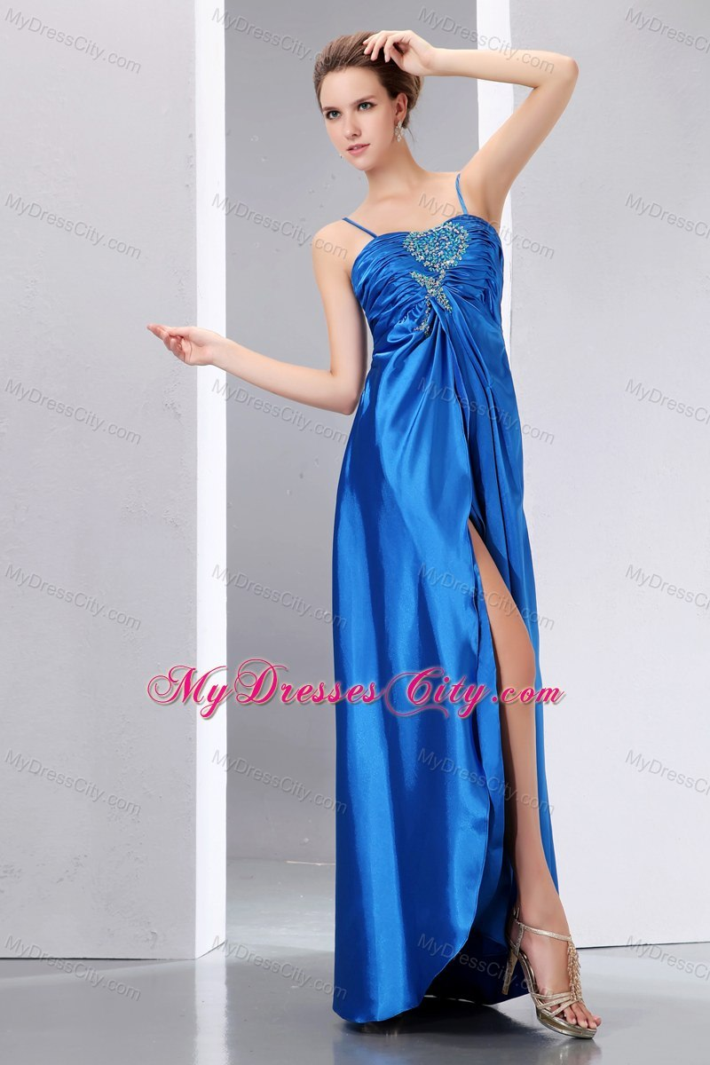 Blue Beaded Prom Dress with Spaghetti Straps and Ruches ...