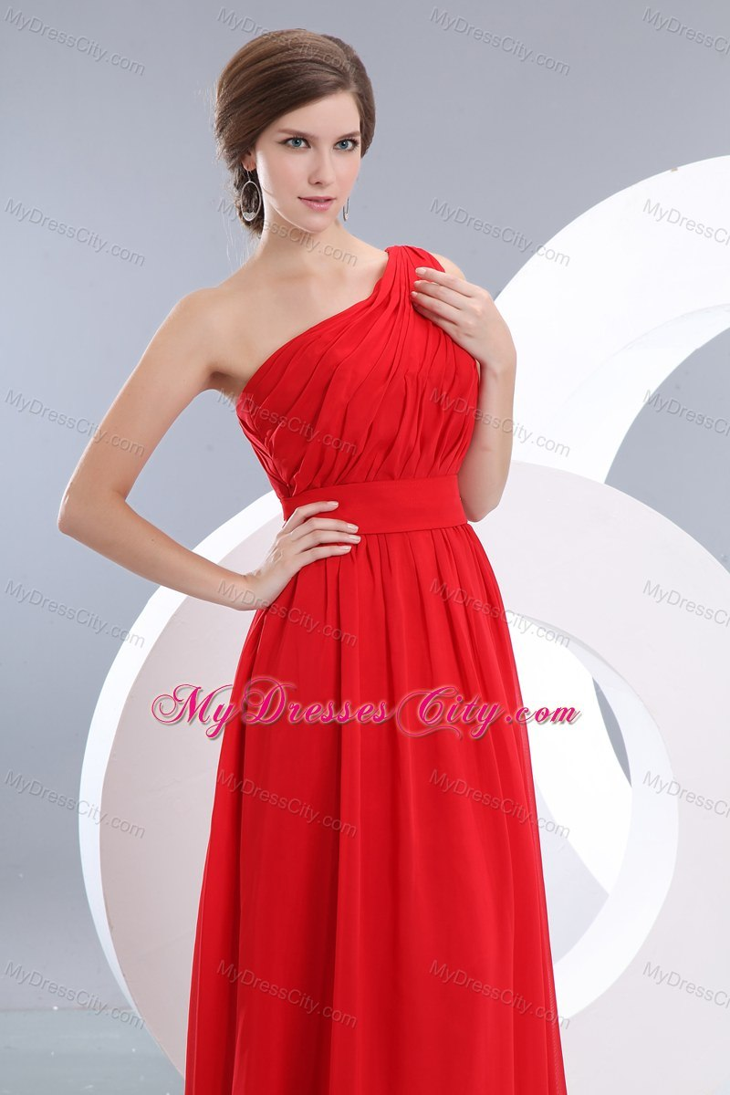 Red One Shoulder Homecoming Dress Floor-length with Ruches ...