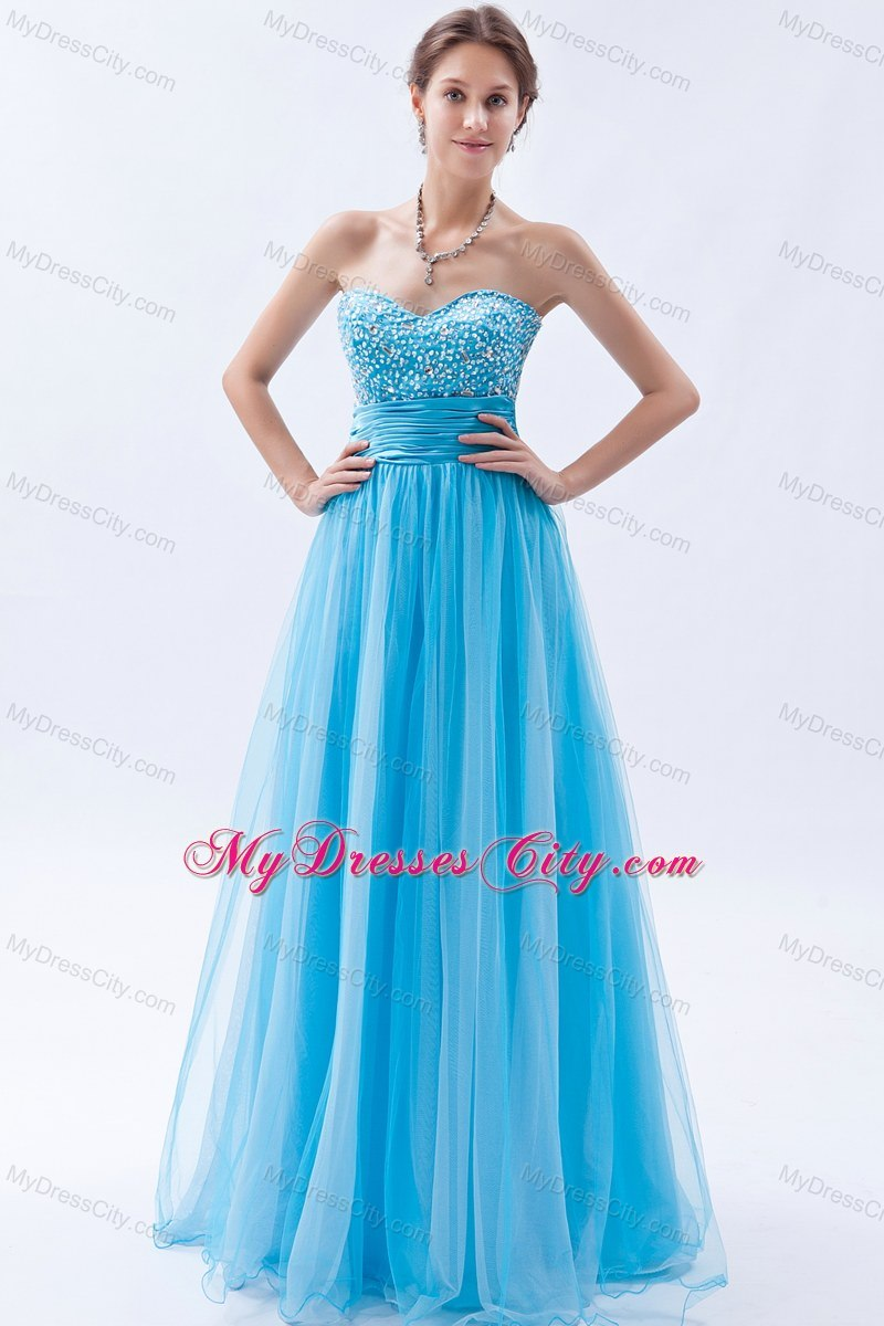 Baby Blue Sweetheart Prom Dress with Beading Floor-length ...
