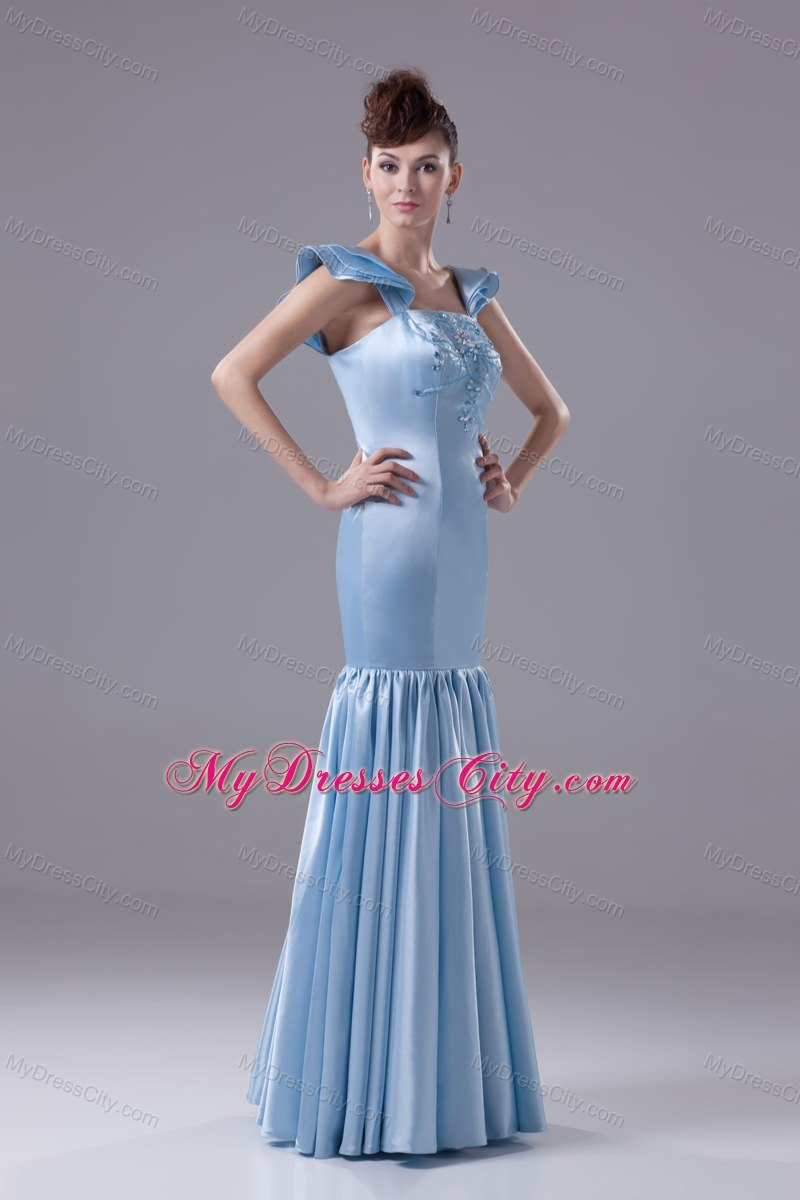 Mermaid Square Beading Baby Blue Prom Dress with Sleeves ...
