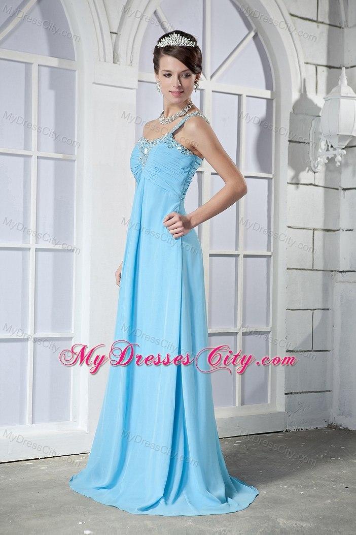 Empire One Shoulder Beading Brush Train Light Blue Prom Dresses ...