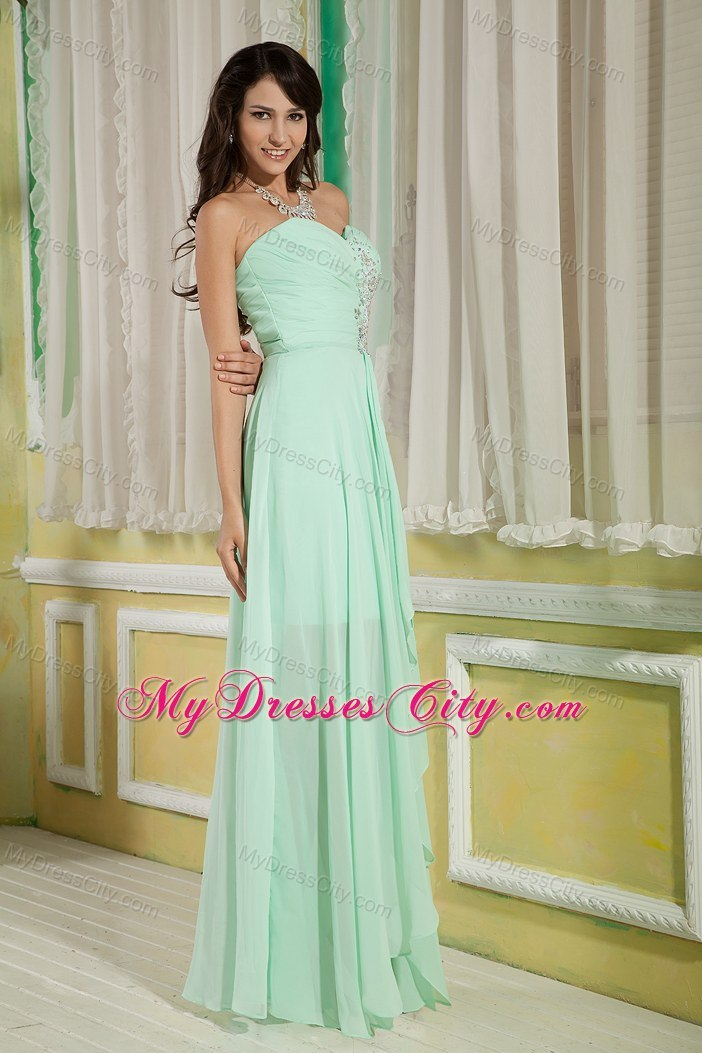 Pretty Apple Green High-low Empire Sweetheart Beading Prom Dress ...