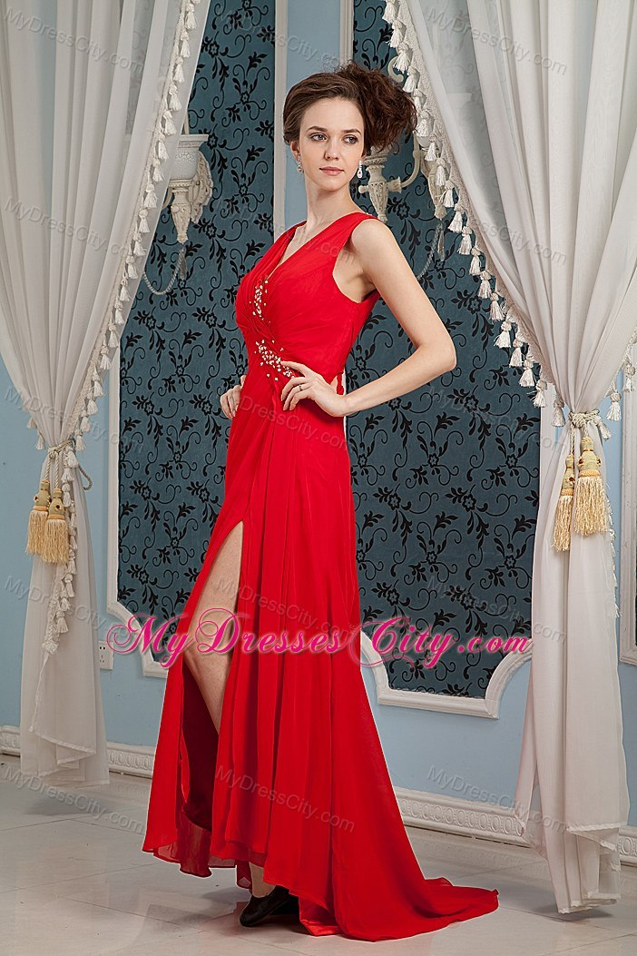 Blood Red V-neck Column Beaded Prom Dress with Brush Train ...