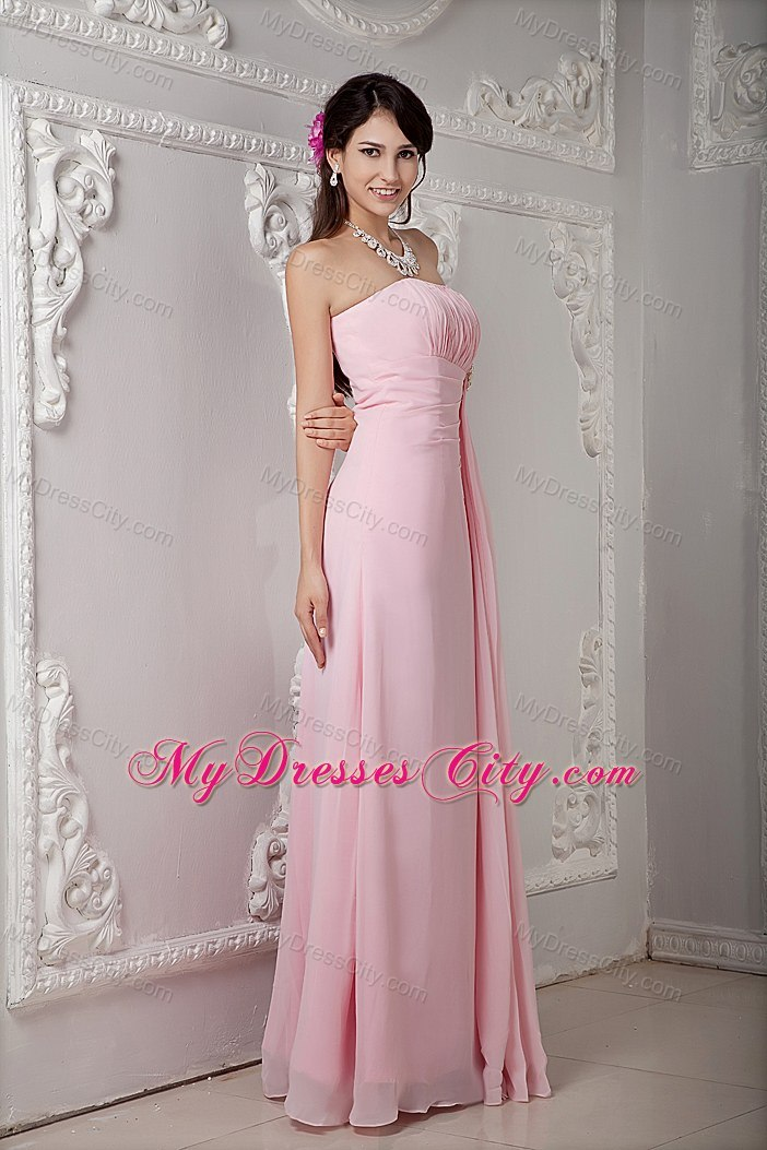 Cheap Baby Pink Prom Dress Empire Strapless Floor-length ...