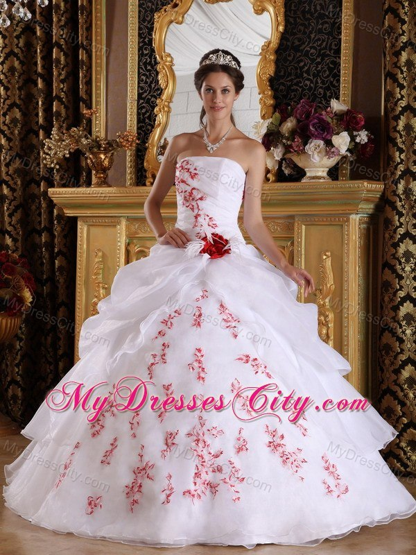 Red Embroidery Strapless Pick Ups White Quinceanera Dresses 2013 ...