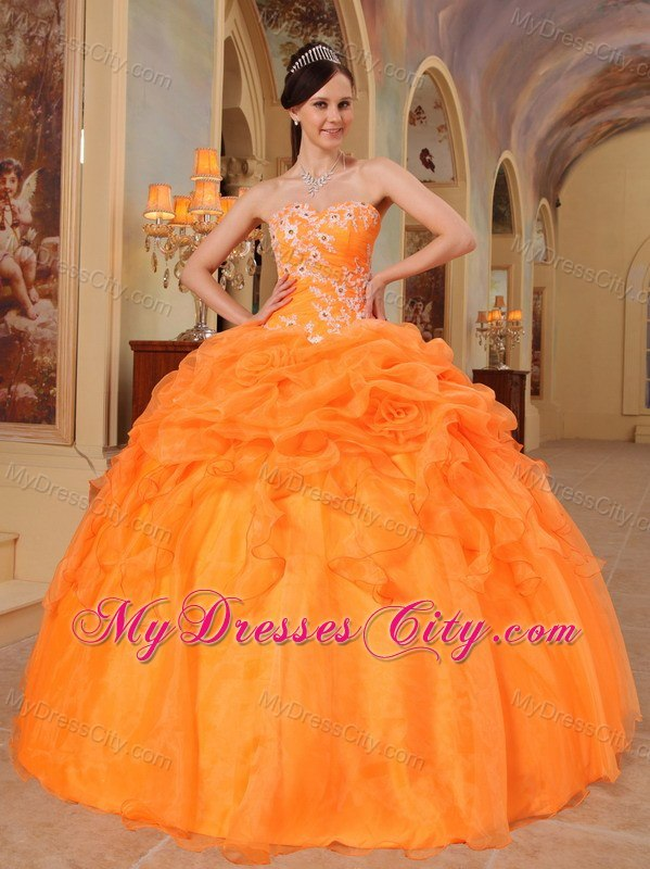 Orange Sweetheart Pick Ups Appliques 2013 Puffy Quinceanera Gowns ...