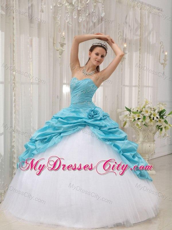 Beaded Ruching Pick Ups Aqua Blue and White Dresses For Sweet 15 ...
