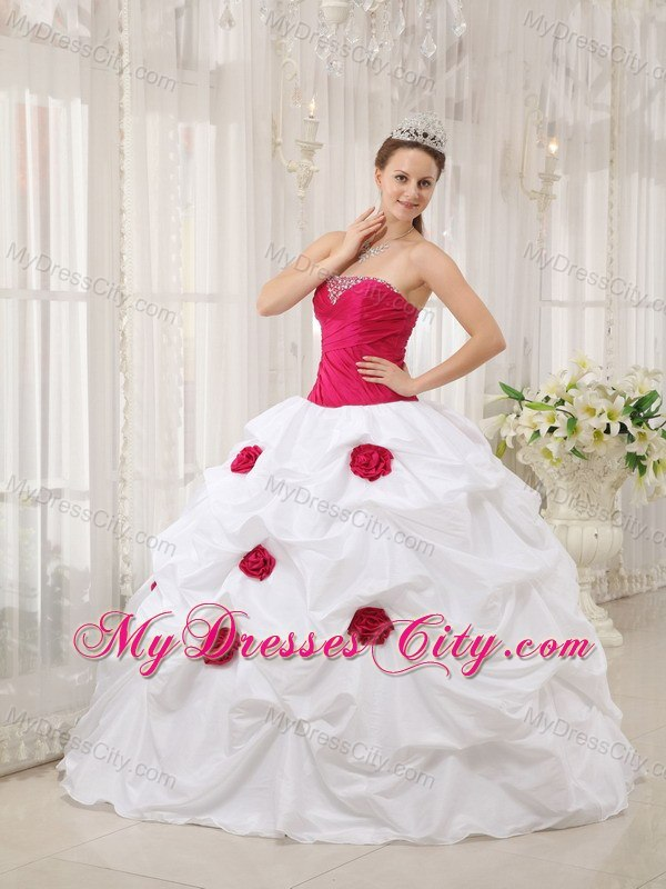 White And Fuchsia Quinceanera Dresses