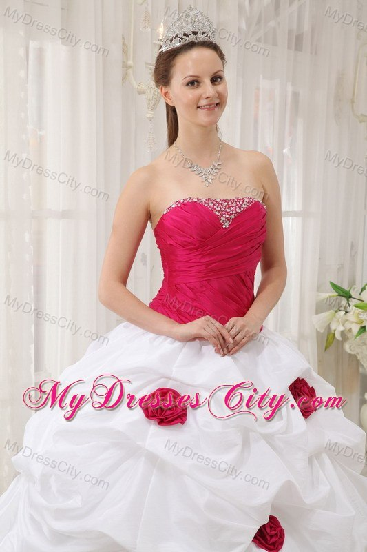 Red Flowers Beaded Ruching Hot Pink and White Dress For ...