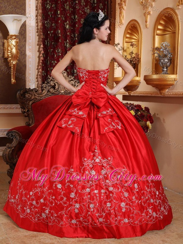Taffeta Embroidery Strapless Red 2013 Cheap Quinceanera Dresses ...