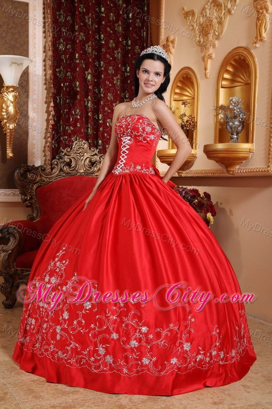 Taffeta Embroidery Strapless Red 2017 Quinceanera Dresses