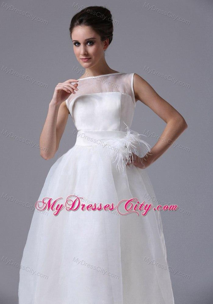 Sheer Neckline Tea Length Belt Organza Beach Wedding Dress