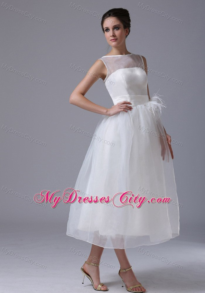 Sheer Neckline Tea Length Belt Organza Beach Wedding Dress
