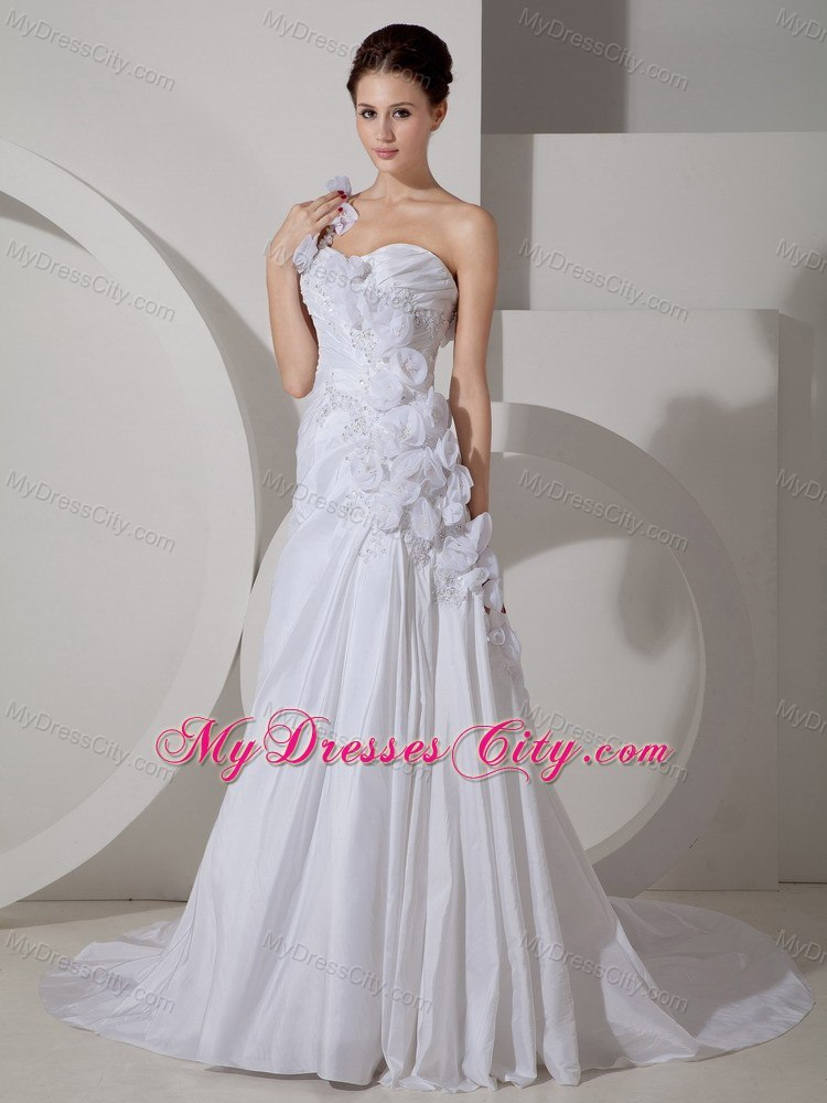 Hand made flowers one shoulder court train bridal gown for Hand beaded wedding dresses