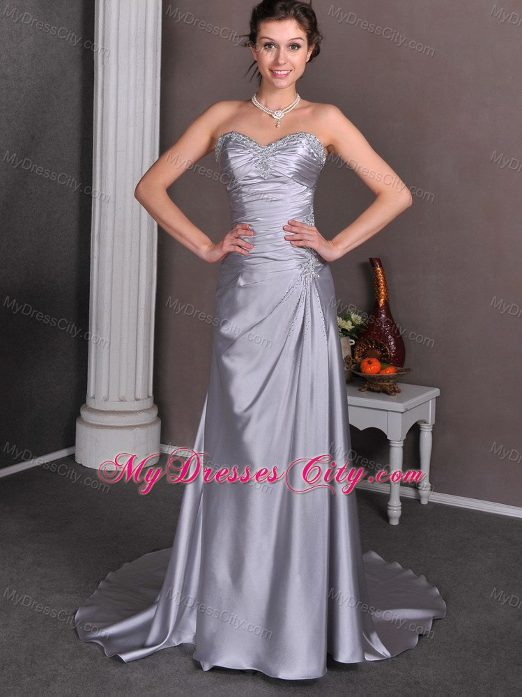 Beaded appliques ruching court train silver wedding for Silver dresses to wear to a wedding
