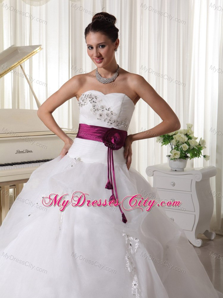 Fuchsia and White Wedding Dress