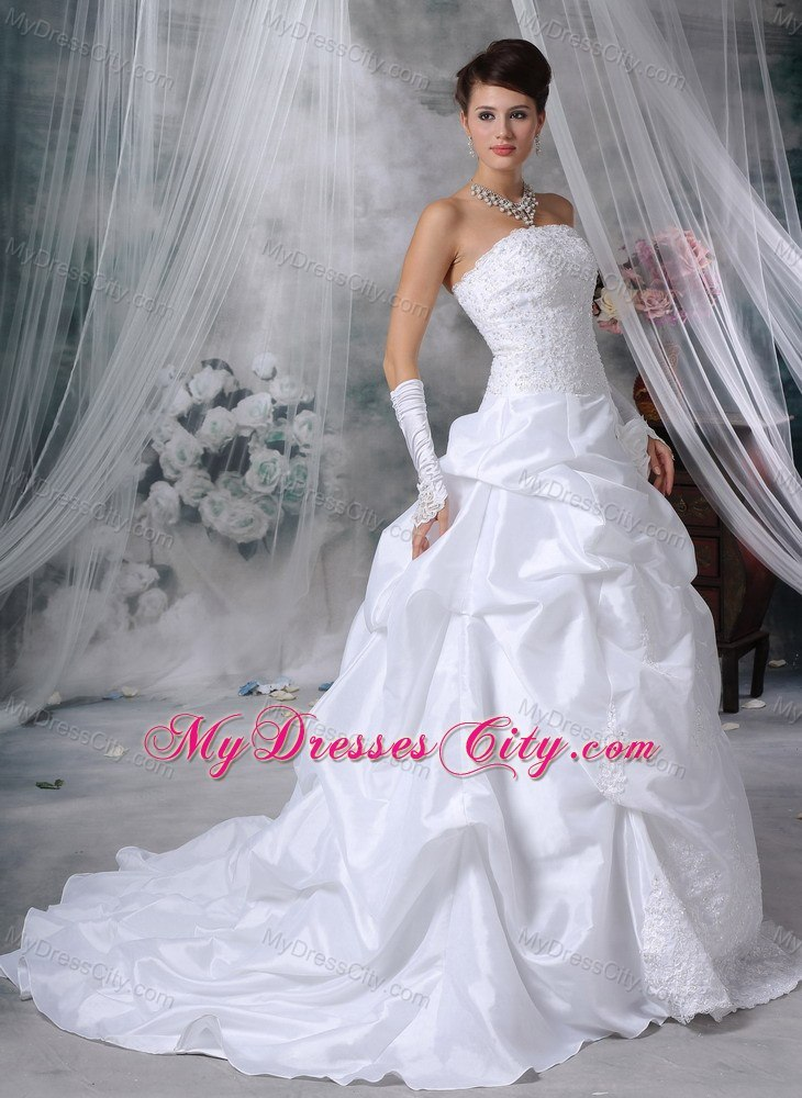 New arrival flowers lace pick ups court train 2013 church for Dresses for church wedding