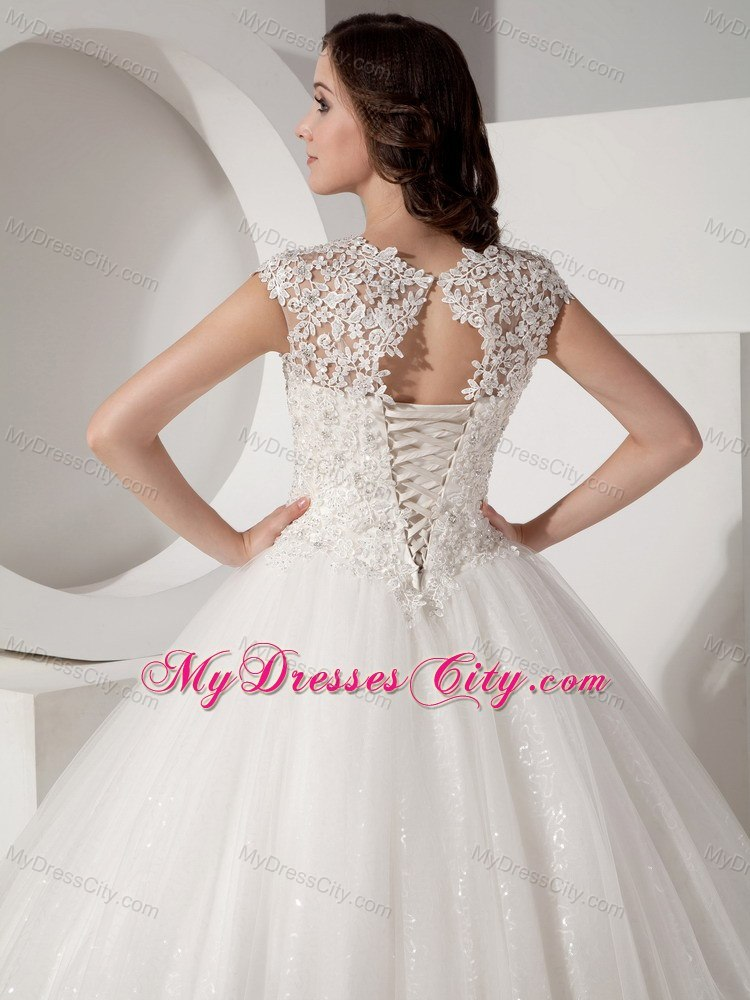 Pretty lace sheer sweetheart neck sequined ball gown for Wedding dresses with lace up back