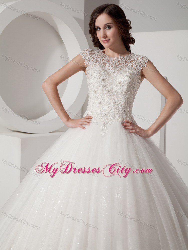 Pretty lace sheer sweetheart neck sequined ball gown for Pretty ball gown wedding dresses