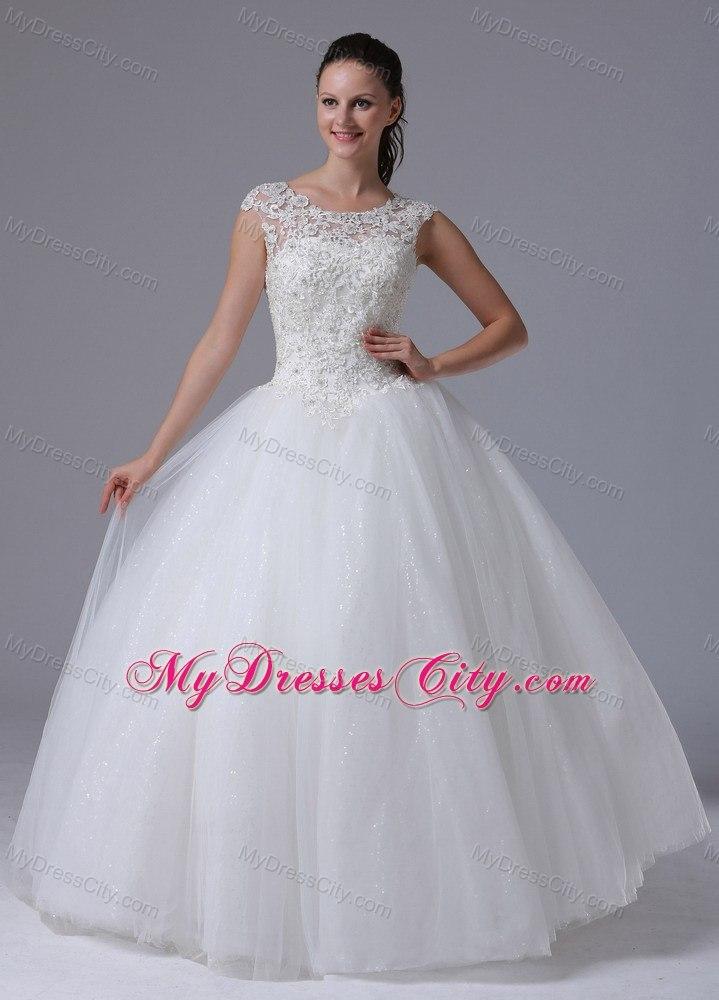 Elegant Lace Scoop Neck Sequined Tulle 2013 Garden Wedding Dress ...