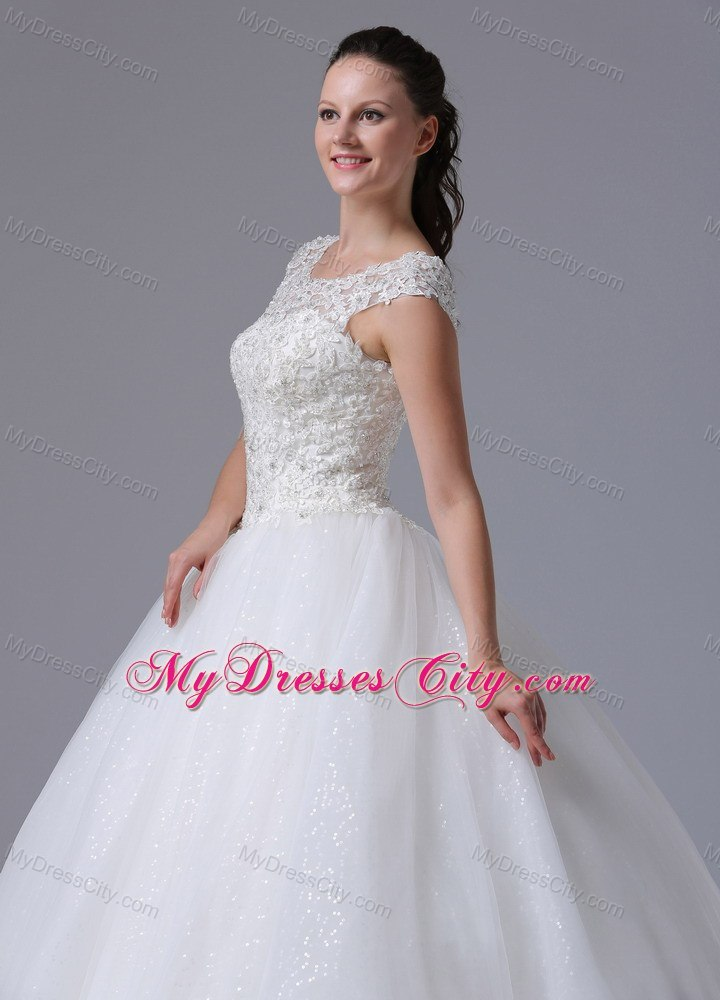 Elegant Lace Scoop Neck Sequined Tulle 2013 Garden Wedding Dress MyDressCit