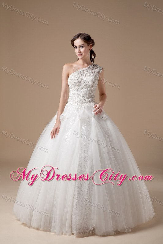 Lace One Shoulder Tulle Ball Gown 2013 Garden Wedding Dresses