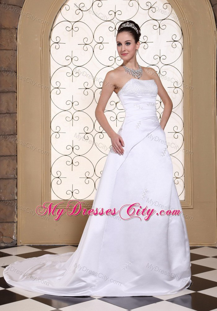Simple cheap sequined strapless plus size court train for Courthouse wedding dress plus size