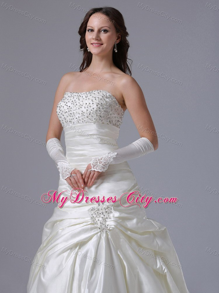 Ruching Beaded Strapless Court Train Elegant Dress For 2013 Garden Wedding